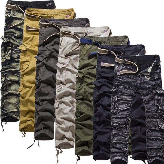 2016 de Los Hombres Pantalones Cargo para Hombre Casual Pant Multi Bolsillo Militar General Pantalones Largos 29 de Los Hombres Al Aire Libre de Alta Calidad 38 Más El tamaño