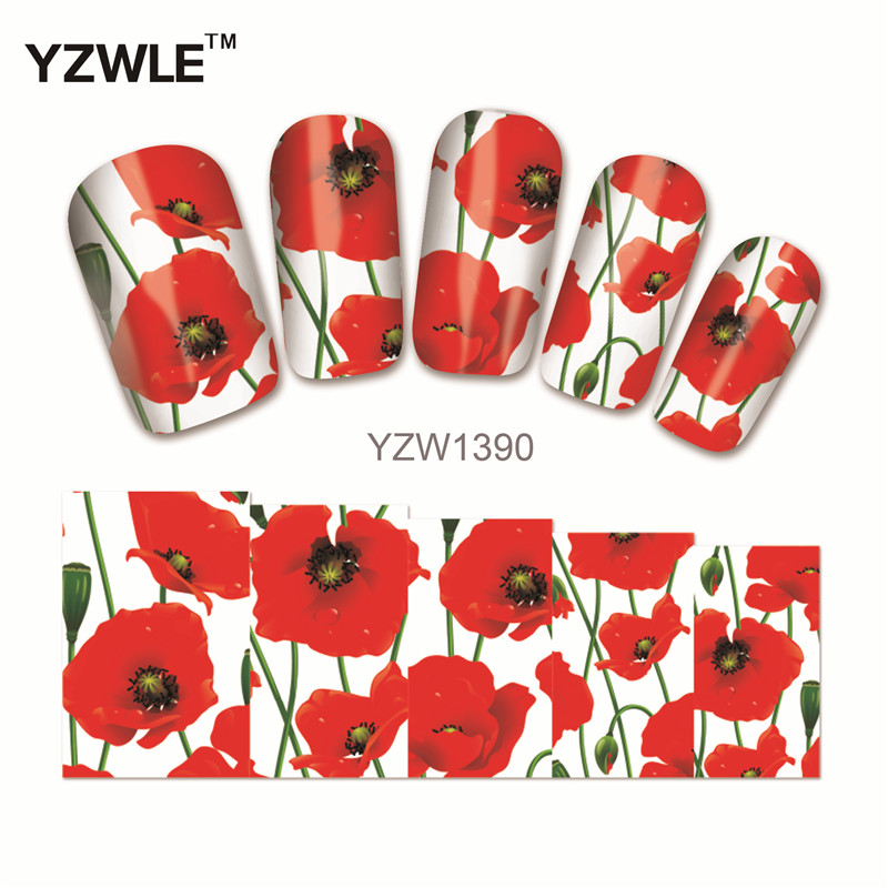 YZWLE 1 Sheet New Nail Art Flower Stickers Decals Water Transfer Wraps Decorations Manicure Care Tools 1 sheet sexy red rose water transfer nail art stickers decals decorations diy watermark wraps manicure tools sastz 073