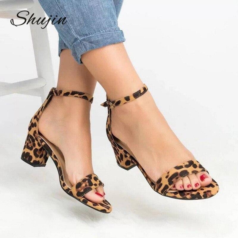 2019 Ankle Strap Heels Sandalen Leopard Druck Frauen Sommer Schuhe Offene Spitze Klobigen High Heels Party Kleid Sandalen Frauen Pumpen # Neue Phantasie Farben