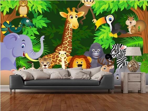 Personalized children's jungle animal wallpaper for walls in children's bedroom