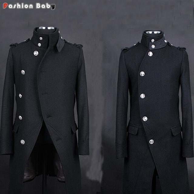 De Los Hombres frescos de Moda Patchwork Collar Epaulet Largo de Foso de Lana con Cinturón de 2016 Negro/Azul Oscuro Otoño/invierno Slim Fit Abrigo