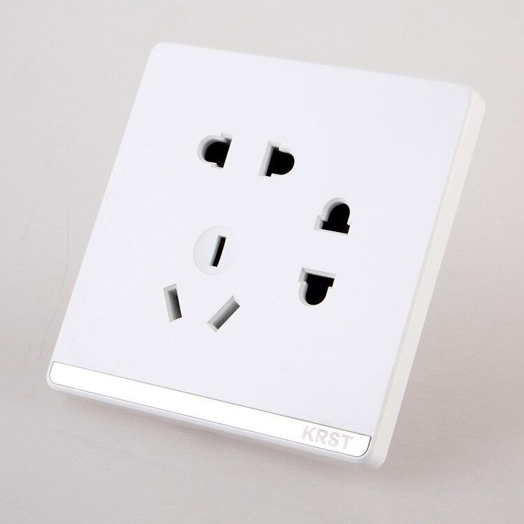 Interruptor Da Tomada de Parede de Decoração para casa, 86 Escondido Grande Placa de Jade Branco, Seven-Buraco Tomada, 10A PC 220 V