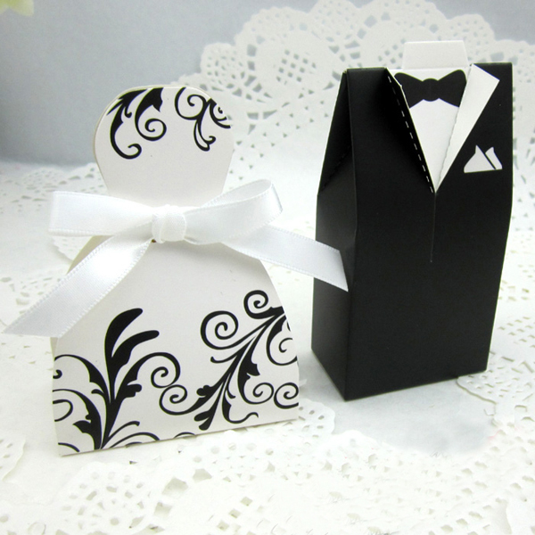 100pieces50pairs Bride Dress Groom Tuxedo Wedding Party Decoration Gift Boxes Favors Supplies Style 3