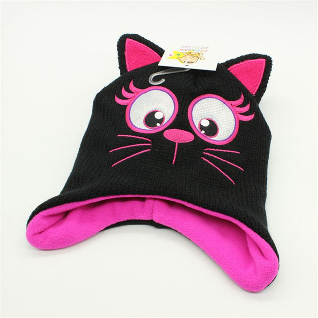 2018 New Cartoon cute cat girls Winter Hat Warm Lining Kids Dinosaur Hat  Toddler Warm Beanie 057cae413c6