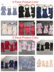 Image 5 - Vrouwen Pyjama 4 Pc & 5 Stuk Satijn Nachtkleding Pijama Zijde Thuis Kleding Borduren Slaap Lounge Pyjama Met Borst Pads pyjama Set