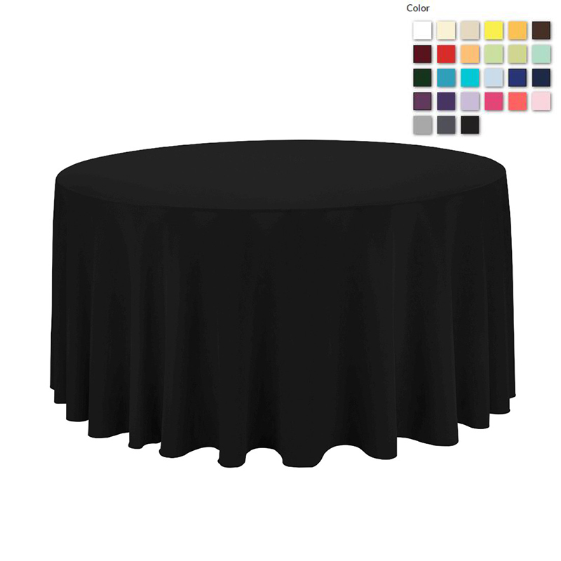 HK DHL Stain Feel 120in./300cm Polyester Round Black Tablecloth for Wedding Event Banquet Party, 5/Pack ...
