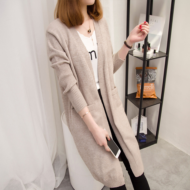 Long sweater jacket sweater 2017 autumn and winter new Korean version of the loose pregnant women sweater