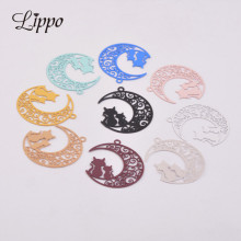 50pcs AC6189 Brass Filigree Moon and Cat Charms Black Cats P