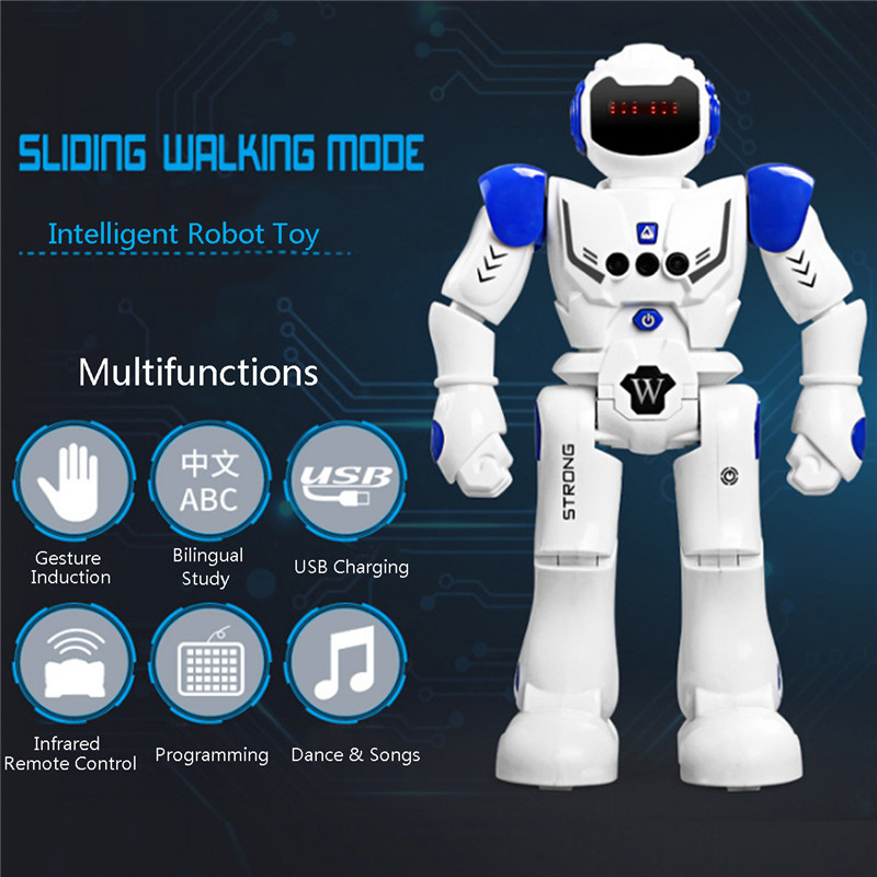Gesture Sensor Intelligent Control Programming Dancing Walking Sing RC Robot Toy with Remote Control Kids Gifts Presents jjrc rc robot kids toy 2 4g intelligent programming gesture sensor singing dancing display candy action figure robots toy