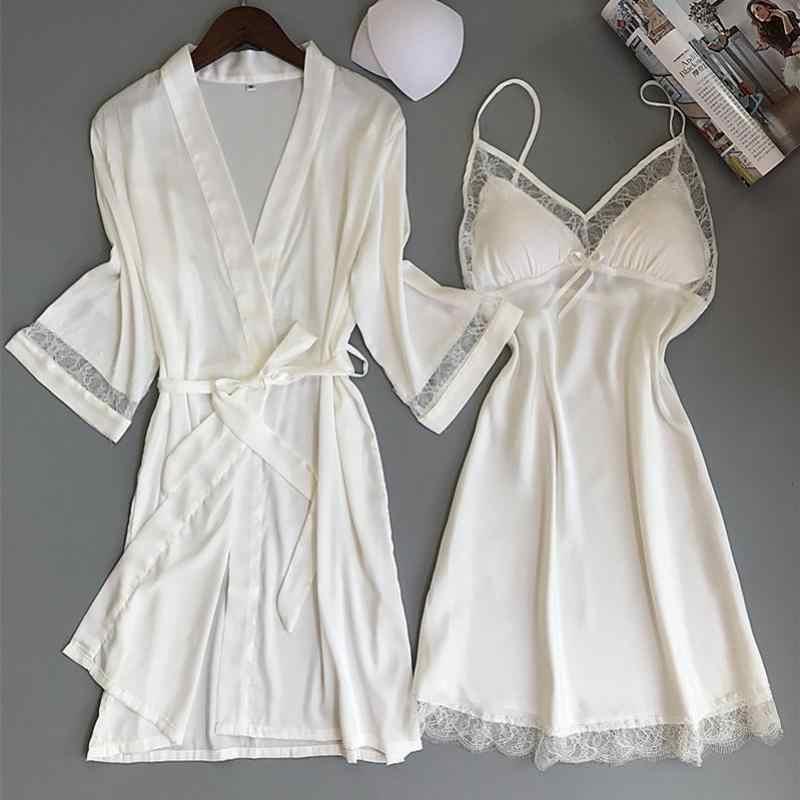 เซ็กซี่ผู้หญิง Rayon Kimono เสื้อคลุมอาบน้ำสีขาวเจ้าสาวแต่งงาน Bridesmaid Robe ชุดลูกไม้ Trim ชุดนอนสบายๆชุดนอนชุดนอน