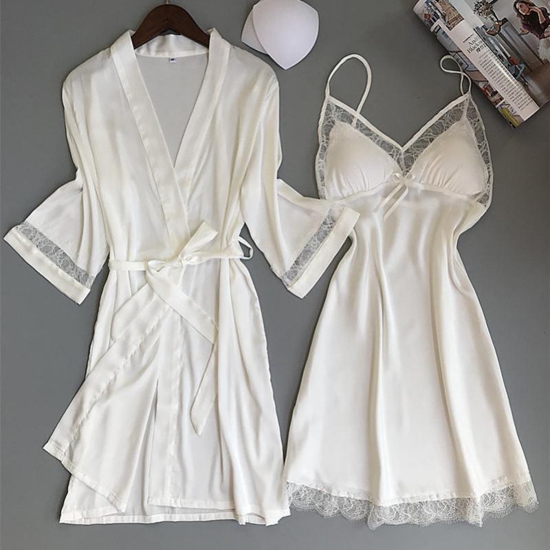 Sexy Women Rayon Kimono Bathrobe WHITE Bride Bridesmaid Wedding Robe Set Lace Trim Sleepwear Casual Home Clothes Nightwear