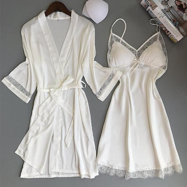 ad422a6c20c1 Sexy Women Rayon Kimono Bathrobe WHITE Bride Bridesmaid Wedding Robe Set  Lace Trim Sleepwear Casual Home Clothes Nightwear