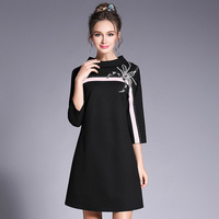3xl 4xl 5xl Brand Plus Size Women's Clothing Runway Dress 2017 Autumn High Quality Scorpion Crystals Patch Luxury Elegant Dress