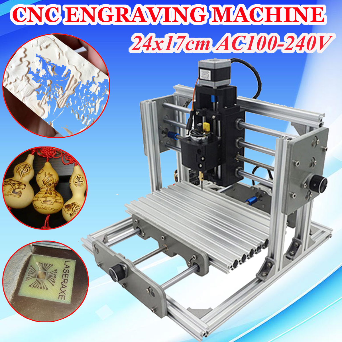 цена на DIY CNC Engraving Milling Machine Assembly Kit Mini 3 Axis PCB Milling Machine Wood Router Laser Engraver Working Area 24x17cm