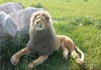 Большой Прекрасный Лев игрушка Simulaiton лежащего льва кукла Творческие Плюшевые Лев игрушка подарок около 100 х 55 см 0541