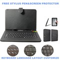 3-IN-1 Stylus+Film+Keyboard for Turbopad 911/912/890 9 inch Tablet Micro USB Keyboard PU Leather Case