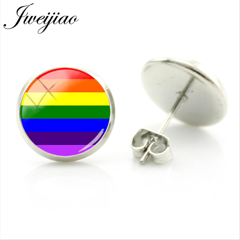 JWEIJIAO Rainbow Design LGBT Stud Earrings Glass Image Cabochon For Woman Man Metal Earrings Jewelry Gift BT08(China)