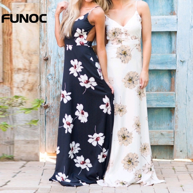 2104eeab7 Funoc Women Backless Split Maxi Dress Deep V-neck Sexy Vestidos Party Dress  New Summer Bohemian Floral Print Casual Beach Dress