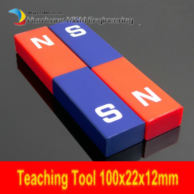 2pcs Magnetic Teaching Tool Magnet Bar type magnet 100x22x12 mm with Plastic Cover blue red / Toy magnet / office magnet free shipping 2 meters self adhesive flexible magnetic strip magnet tape width20x1 5mm ad teaching rubber magnet