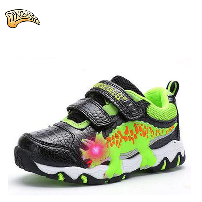 Dinoskulls Led Children Breathable Dinosaur Shoes Brands Led Boys Shoes Kids Sport Shoes Glowing Leather Luminous Sneakers luminous glowing sneakers children kids led shoes breathable zapatos shining children usb charging kids led shoes 50z0005