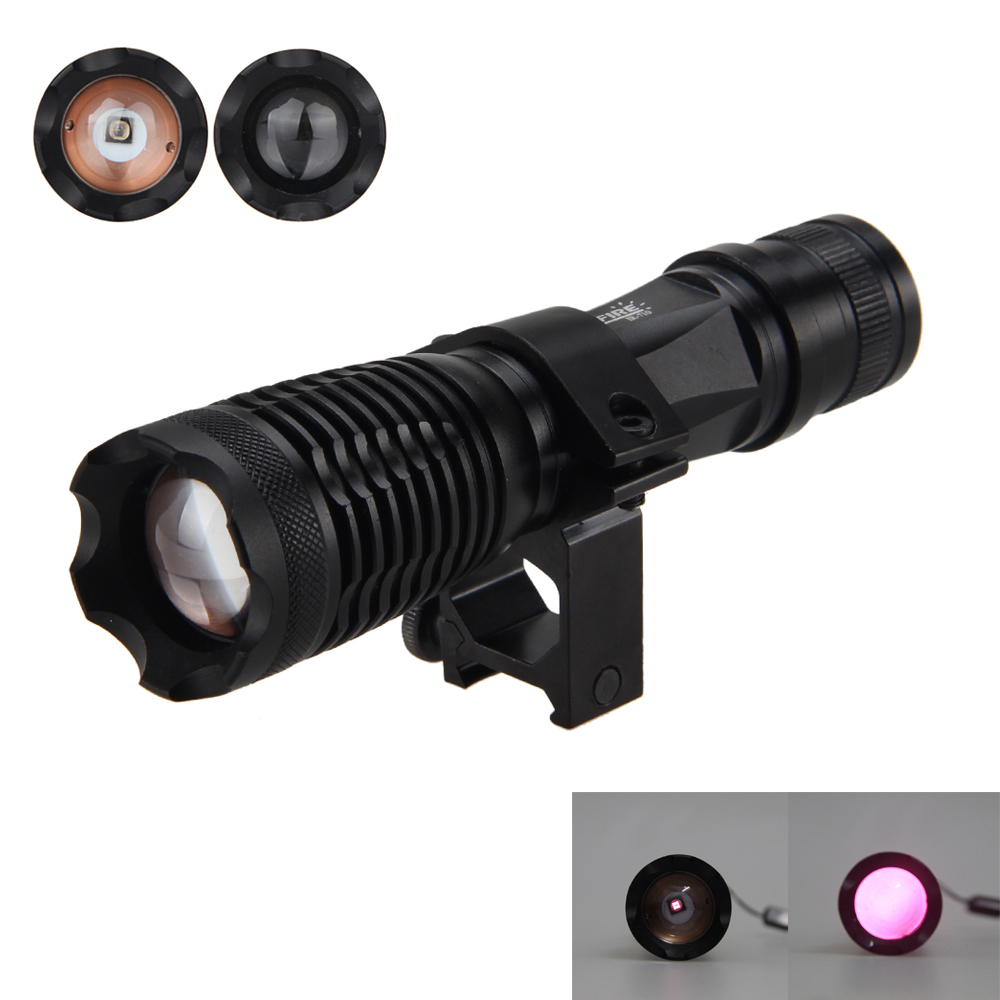 Zoombar Focus 5W Infrarødt lommelygte Hunting Torch Night IR Vision + Gun Mount til brug med Night Vision Device