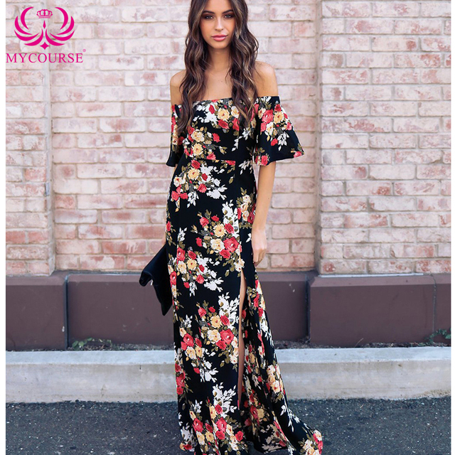 Mycours Women Sexy Off Shoulder Ruffle Maxi Black Floral Maxi