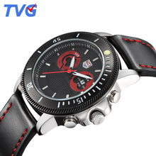 TVG 2016 mens watches top brand luxury leather quartz analog watch water resistant stainless steel dial sports casual for men