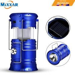 EZK20 livraison directe LED Camping lanterne lampes de poche pliable solaire tente lumière équipement pour la randonnée en plein air urgences