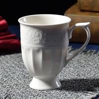 Nuovi prodotti Palazzo In Rilievo In Ceramica Tazza di Caffè Letterario D'epoca Tazze 300 ml Europeo tazza di Tè Nero Bianco Puro Spedizione Gratuita