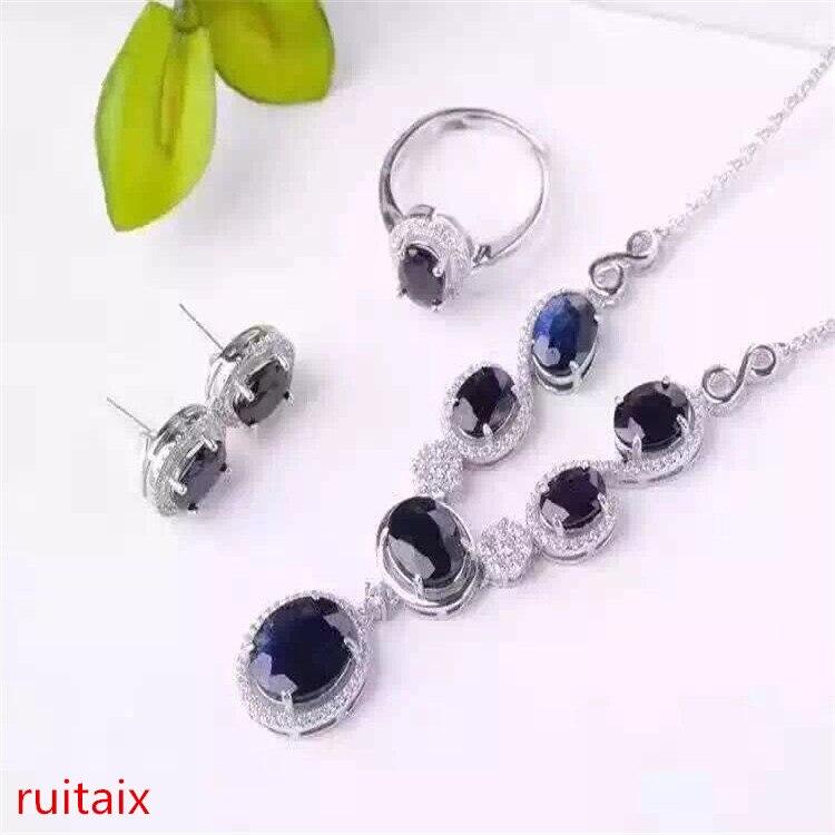 KJJEAXCMY бутик jewels S925 серебряной инкрустацией натуральный сапфир инкрустация бриллиантами Феникс стиль кулон + ожерелье + кольцо + серьги gi