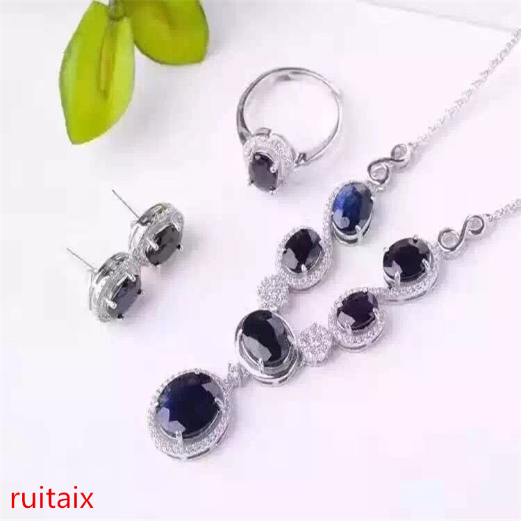 KJJEAXCMY boutique jewels S925 silver inlay natural sapphire inlay diamond phoenix style pendant + necklace + ring + earrings gi