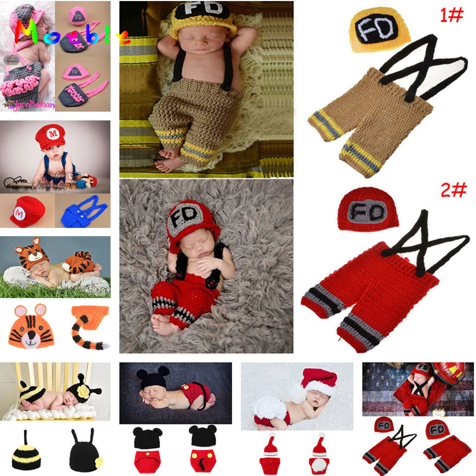 Crochet Firefighter Baby Boy Photo Props Spädbarn Kid Hat Kläder Set Strikkat Nyfött Hat Byxor Set för Fotografering 1set MZS-15037