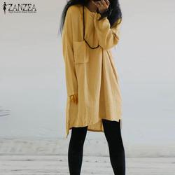 2019 осень ZANZEA Для женщин Повседневное одноцветное с круглым вырезом рубашка с длинными рукавами Vestido Винтаж хлопок белье вечерние длинные