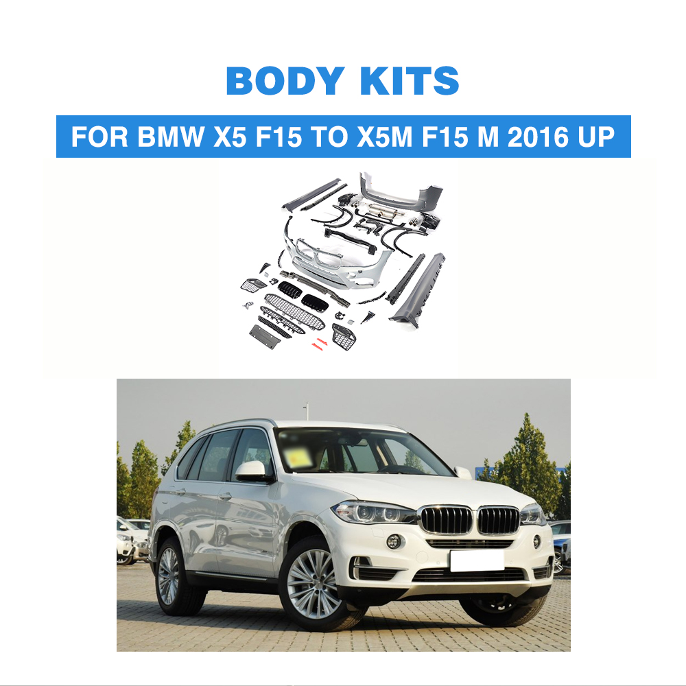 PP front bumper rear bumper side skirts Grill Grille Mesh Bumper Guard Body Kits For BMW X5 F15 TO X5M F15 2016-2017 f15 x5 carbon fiber bodykit for bmw f15 x5 m tech m sport bumper body kit rear diffuser