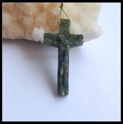 Натуральный камень Канада нефрит резьба христианский крест DIY ювелирные изделия тела Иисуса, благословленные символизирующие спокойствие ...