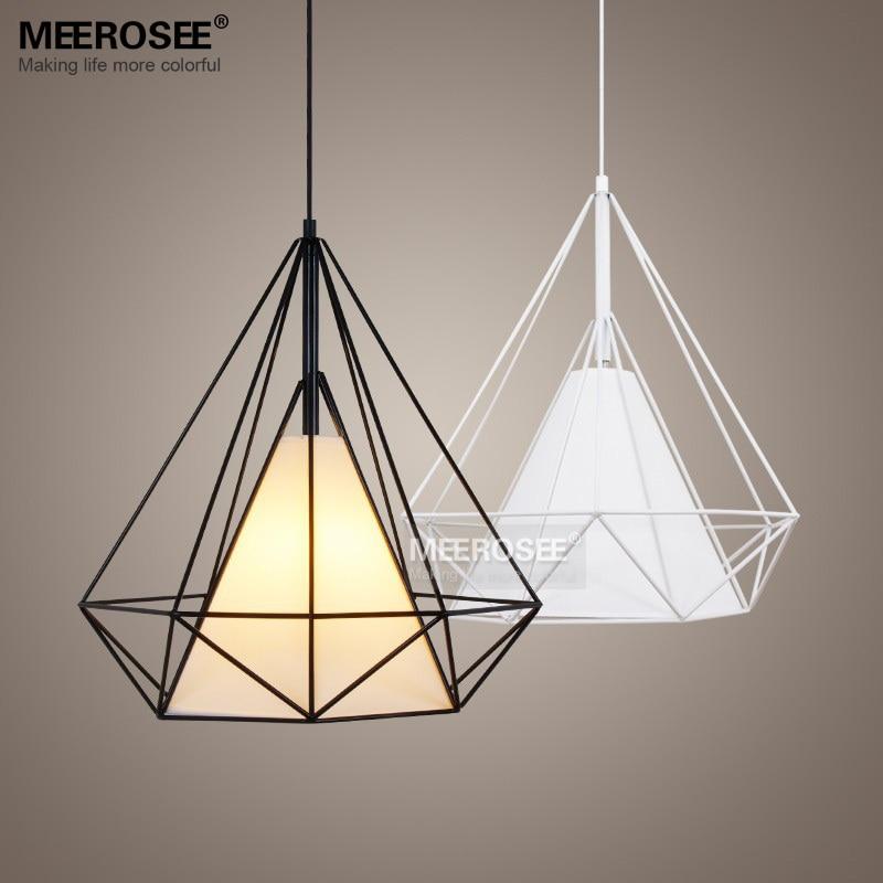 Modern Birdcage Pendant Light Fixture Scandinavian Art Pyramid Iron Suspension Black White Re Restaurant Lamp In Lights From