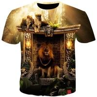 Cloudstyle 3D Print T shirts Men Clothes 2018 Lions Animal King 3D Print Short Sleeve Tee Shirts Summer Tops Harajuku Fashion