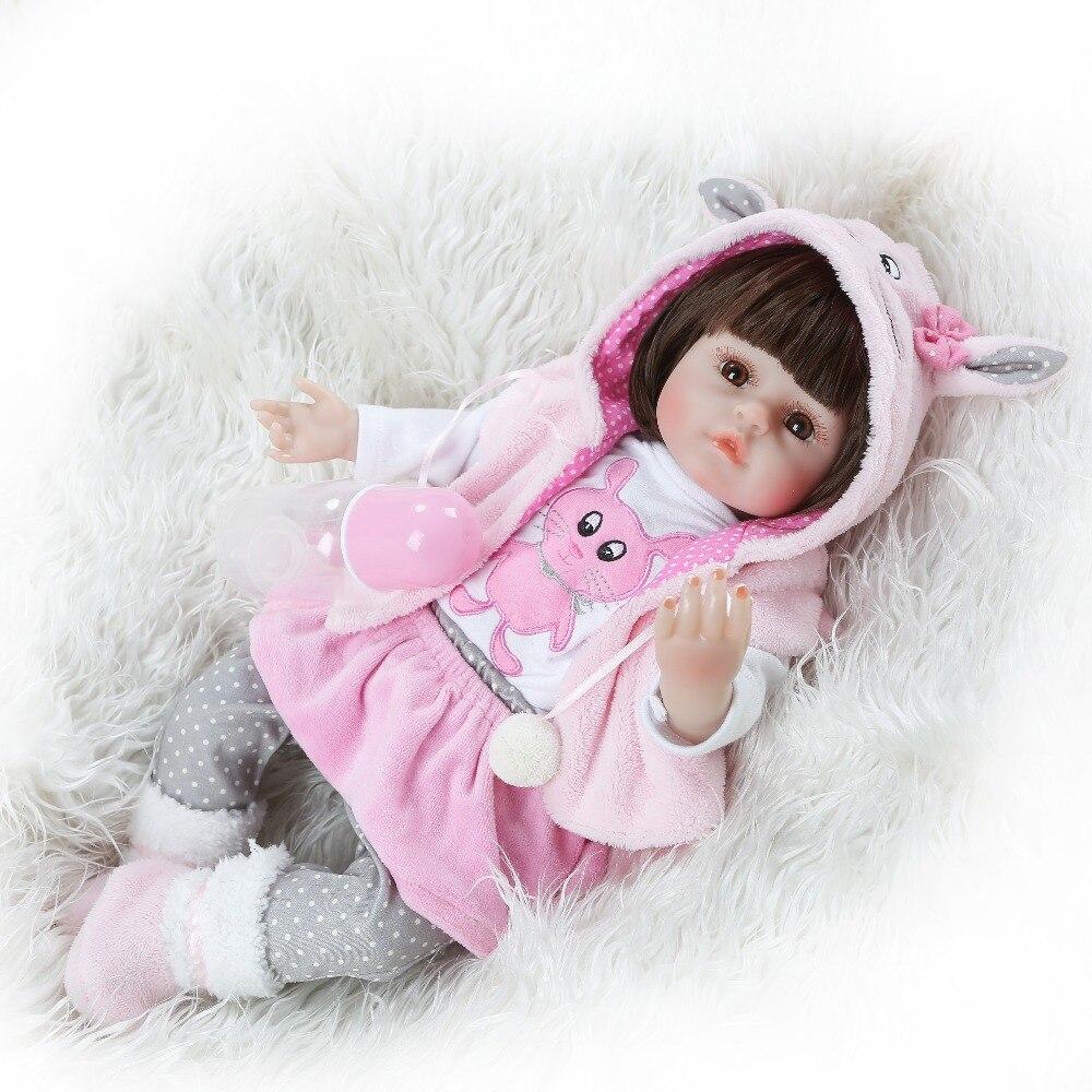 NPK 47CM Silicone Reborn Baby Dolls Baby Doll Alive Realistic Boneca Bebes Lifelike Real Girl Doll