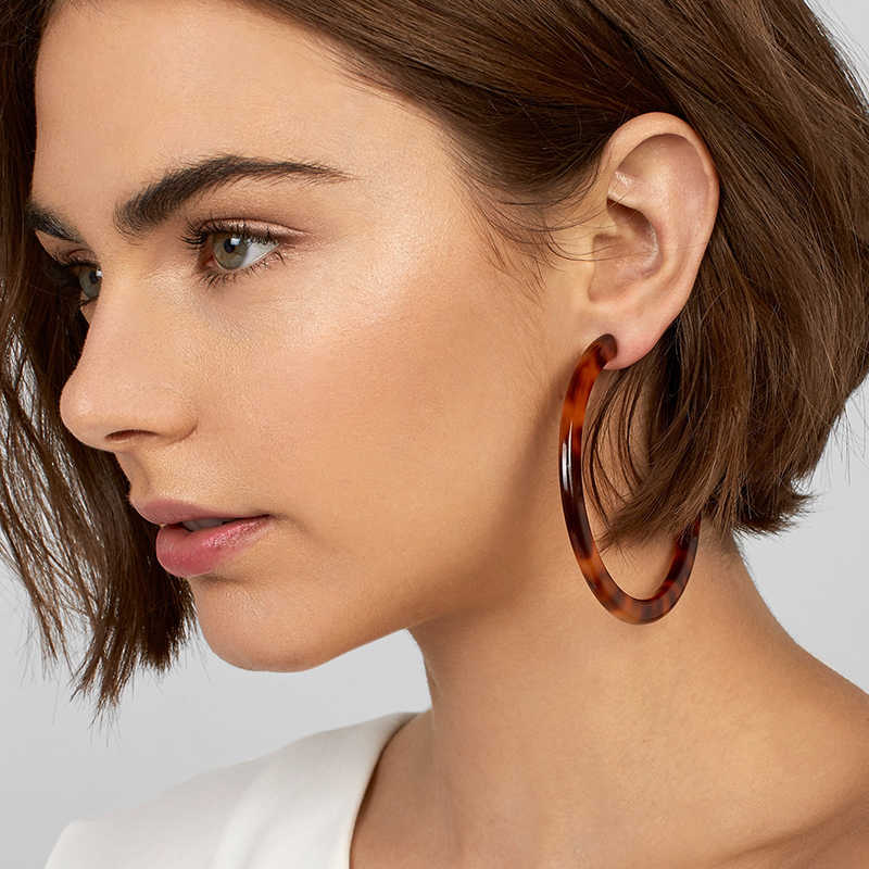 2019 Colorful Acetate Acrylic Circle Hoop Earring For Women Leopard Print Resin Geometric Big Earring Fashion za Jewelry Gift