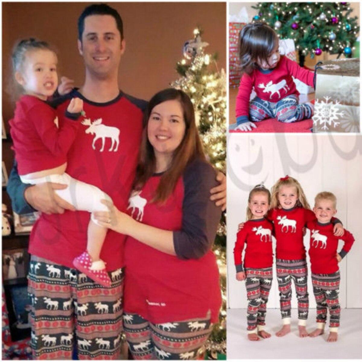 2018 New Brand Newest Family Matching Christmas  Long Sleeve Striped Casual Pajamas  Sets Xmas Sleepwear Nightwear