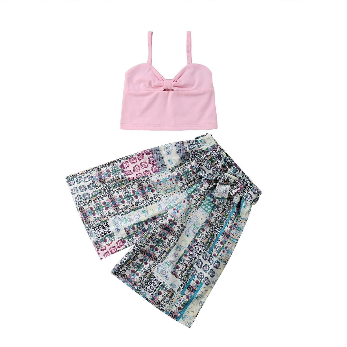 Betrouwbaar 2 Stks Kids Baby Meisje Zomer Hot Stijl Kleding Outfits Mouwloze Vlinderdas Vest + Losse Brede Been Bloemen Broek 1-6 T