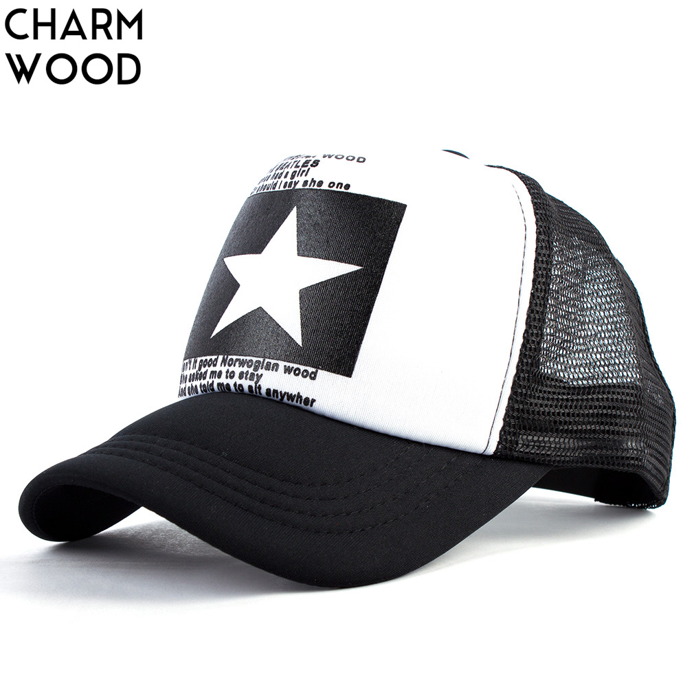 CHARM WOOD Summer Unisex Star Black Snapback Baseball Cap Men Sunshade Mesh Net Hat Women Sports Sun Visor Caps Bone Gorras