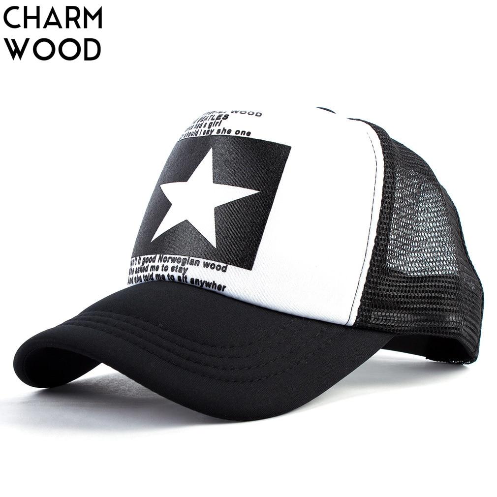CHARM WOOD Summer Unisex Star Black Snapback Baseball Cap Men Sunshade Mesh Net Hat Women Sports Sun Visor Caps Bone Gorras