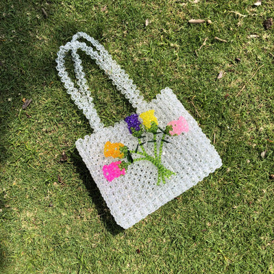 Lady Pearls Beading Handle Bag Luxury Brand Party Fashion Tote Pocket Handmade Small Purse Clutch Crystal Transparent Bag