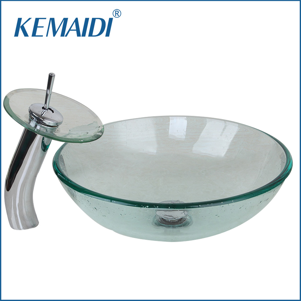 UK New Bathroom Transparent Glass Basin Sink Countertop Bath Basin Vessel Vanity Tempered Glass Bowl Ship with Waterfall Faucet suck uk