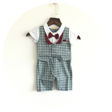 Baby Boys Rompers 2016 New Design Kids Clothes Gentleman Style One piece Cotton Baby Jumpsuit Short