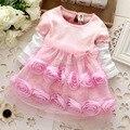 Menina da dama de honra vestidos da menina de flor rosa dress outono bebê meninas princess dress crianças bonito vestidos de festa da moda