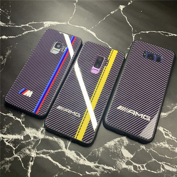 Luxury Motorsport AMG GTR M Carbon Fiber Case For Samsung S9 S8 Plus Note 9 8 Tempered Glass Cover Coque Supercar Fundas Мотоцикл
