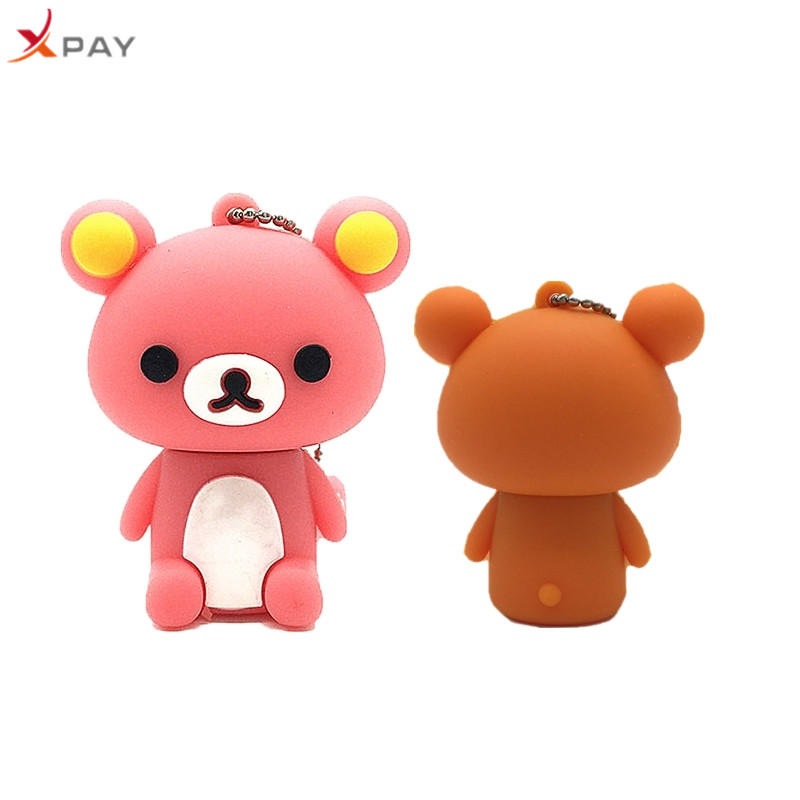 Usb 2.0 Lovely Bear Usb Flash Drive 32GB Silicone Pen Drive real capacity 4GB 8GB 16GB Memory Stick 64GB 128GB Pendrive for gift-in USB Flash Drives from Computer & Office