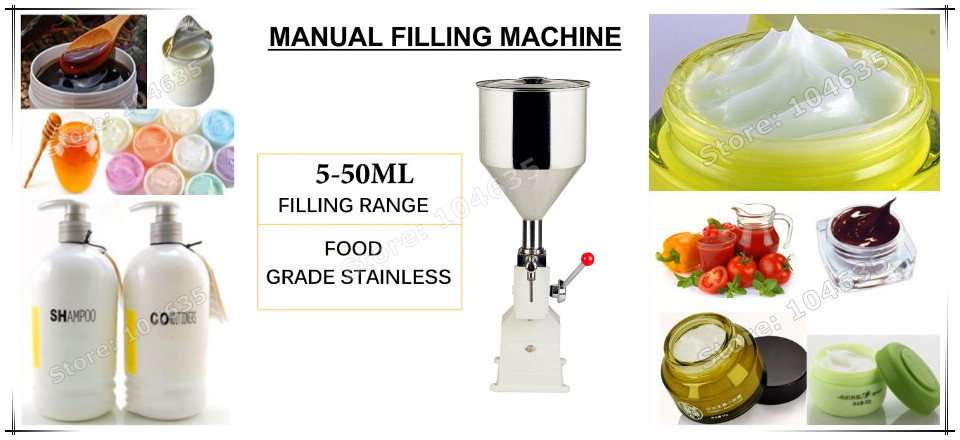 High Quality Manual hand pressure Food filling machine paste liquid filler cream filling machine 1- 50ml a02 manual filling machine pneumatic pedal filling machine 5 50ml small dose paste and liquid filling machine piston filler
